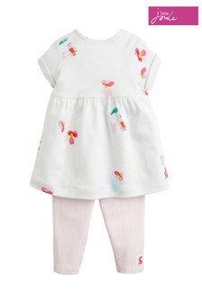 Joules White Seren Jersey Dress & Legging Set