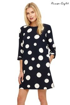 Phase Eight Black White Nico Spot Dress