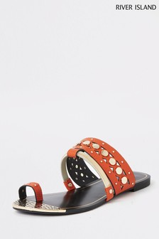 River Island Orange Scalloped Toe Hole Sandal