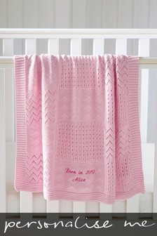Personalised Pink Knit Blanket
