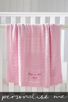 Personalised Pink Knit Blanket