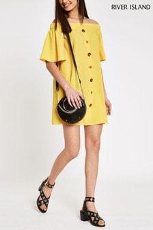 שמלה צהובה עם כתפיים חשופות של River Island