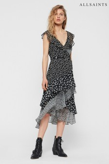 AllSaints Black Floral Scatter Print Wrap Dress