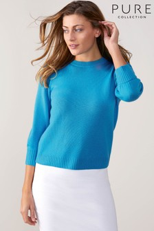 Pure Collection Blue Toccato Blouson 3/4 Sleeve Sweater