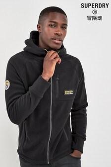Superdry Black Fleece Zip Through Hoody