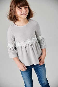 Stripe Lace Waist Top (3-16yrs)