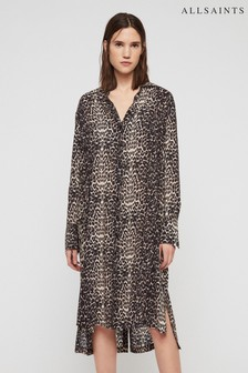 All Saints Leopard Print Anya Shirt Dress