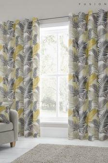 Fusion Yellow Tropical Eyelet Curtains