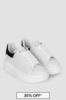 Kids White/Black Leather Trainers