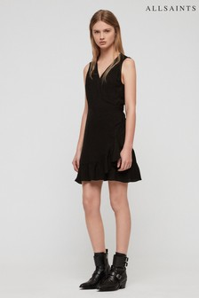 AllSaints Black Spot Print Crystal Wrap Dress