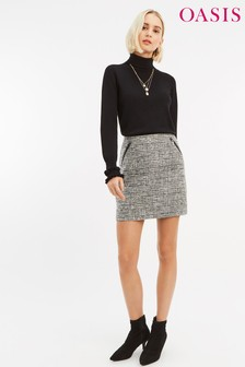 Oasis Black/White Check Skirt