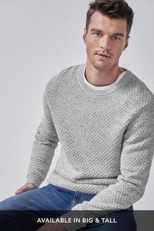 Teksturowany sweter z okrągłym dekoltem