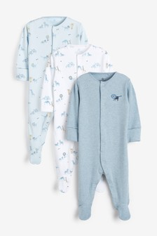 3 Pack Delicate Lion Print Sleepsuits (0mths-2yrs)