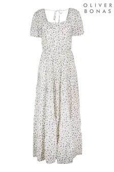Oliver Bonas White Frill Ditsy Floral Maxi Dress