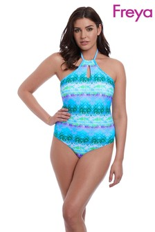 Freya Blue Seascape Hi Neck Swimsuit
