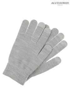 Accessorize Grey Opp Metallic Touch Glove