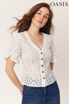 Oasis White Broderie Button Top