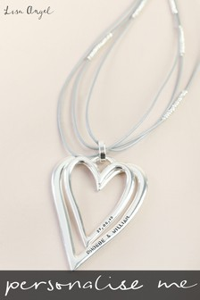 Personalised Long Grey Cord Double Heart Necklace By Lisa Angel