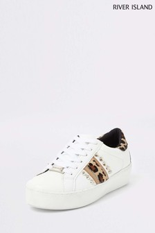River Island White Leopard Stud Lace-Up Trainer