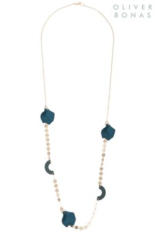 Oliver Bonas Blue Deja Long Chain 3D Disc Necklace