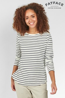 FatFace Ivory Organic Cotton Breton T-Shirt