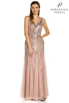 Adrianna Papell Pink Beaded Gown With Godets