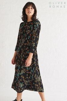 Oliver Bonas Black New Love Asymmetric Midi Dress