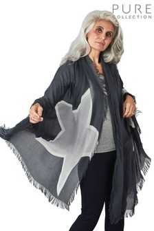 Pure Collection Grey Ultra Soft Printed Scarf