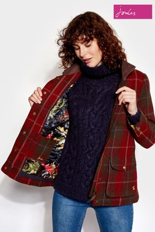 Joules Fieldcoat Check Tweed Coat