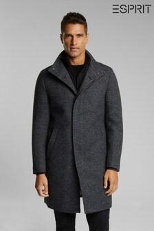 Esprit Grey Knitted Regular Coat