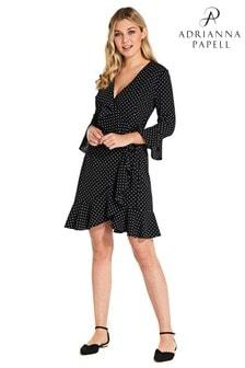 e2453e0a8c9 Adrianna Papell Black Multi Pindot Printed Ruffle Wrap Dress