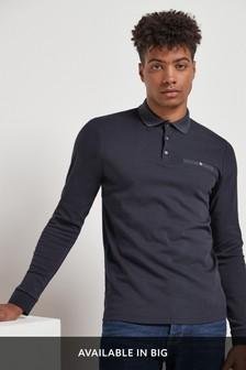 Long Sleeve Jacquard Collar Polo
