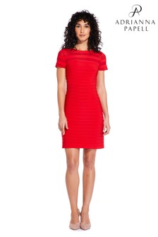 Adrianna Papell Red A-Line Banded Mini Dress
