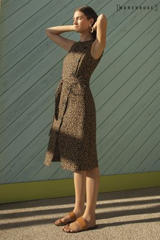 Warehouse Animal Leopard Button Compact Cotton Dress