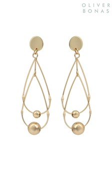 Oliver Bonas Gold Eternal Linked Mobile Teardrop Earrings