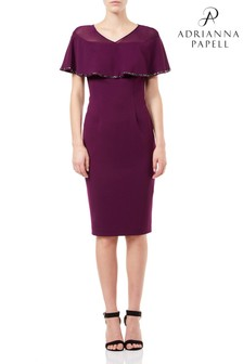 Adrianna Papell Purple Short Knit Crepe Dress