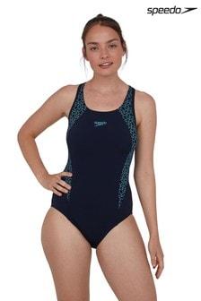 Speedo Blue Boomstar Splice Flyback 1 Piece Swimsuit