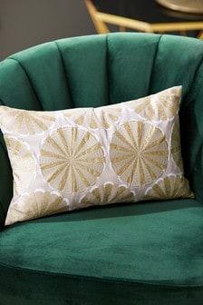 Подушка с золотистой вышивкой