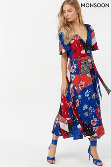 Monsoon Ladies Blue Poppy Patch Print Tea Dress