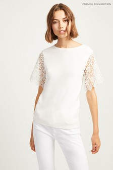 French Connection White Lace Sleeve Tee