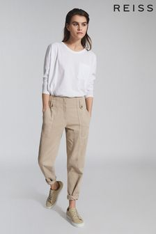 Reiss White Cassie Cotton Jersey Long Sleeved T-Shirt
