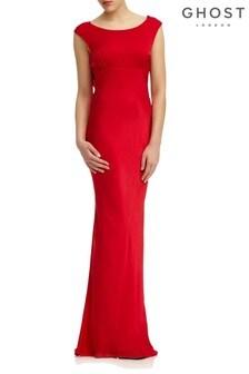 Ghost London Red Salma Poinsettia Satin Dress