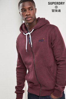 Superdry Burgundy Classic Zip Through Hoody