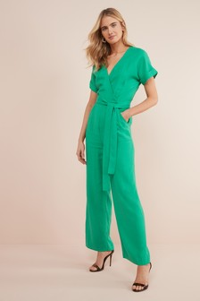 Green Wrap Jumpsuit
