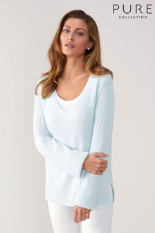 Pure Collection Blue Toccato Ribbed Tunic Sweater