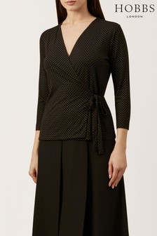 Hobbs Black Clarissa Wrap Top