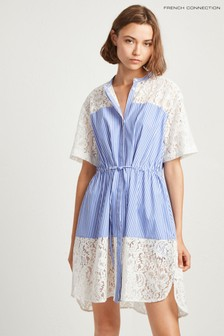 French Connection Blue Adena Mix Shirt Dress