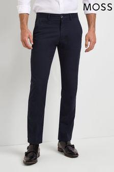מכנסי כותנה נמתחים בצבע כחול כהה בגזרה מחויטת של Moss 1851