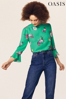 Oasis Green Floral Flute Sleeve Top