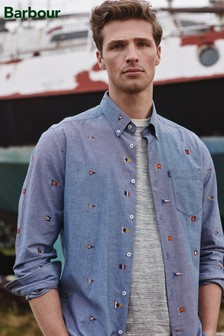 Barbour® Blue Chambray Flag Embroidered Shirt